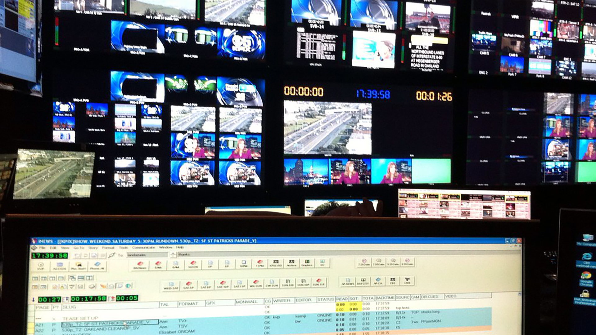 Multiple screens in news control room