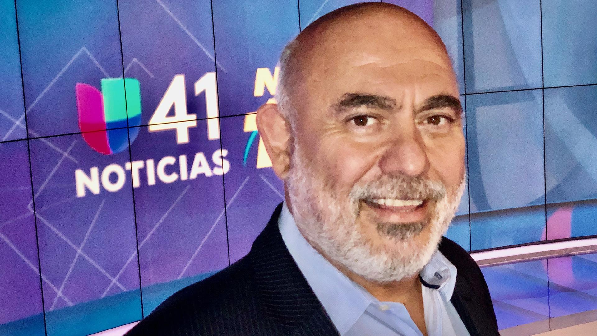 Man's face over Univision logo