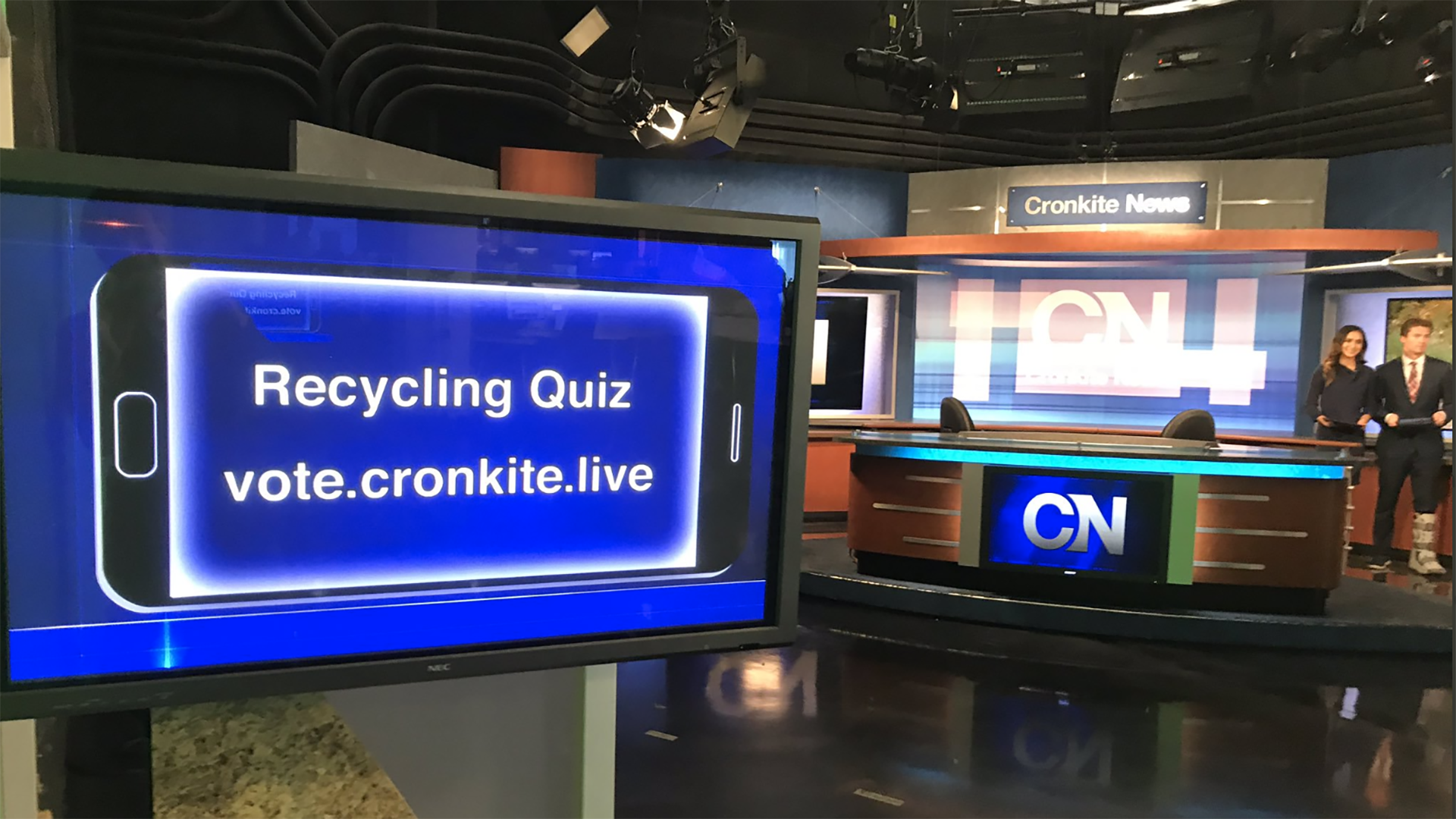 news set with question on monitor