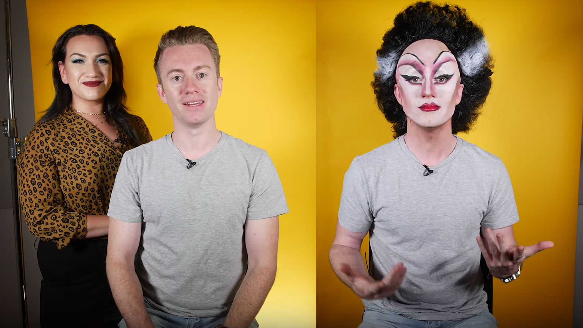 man in makeup as bride of frankenstein and without makeup