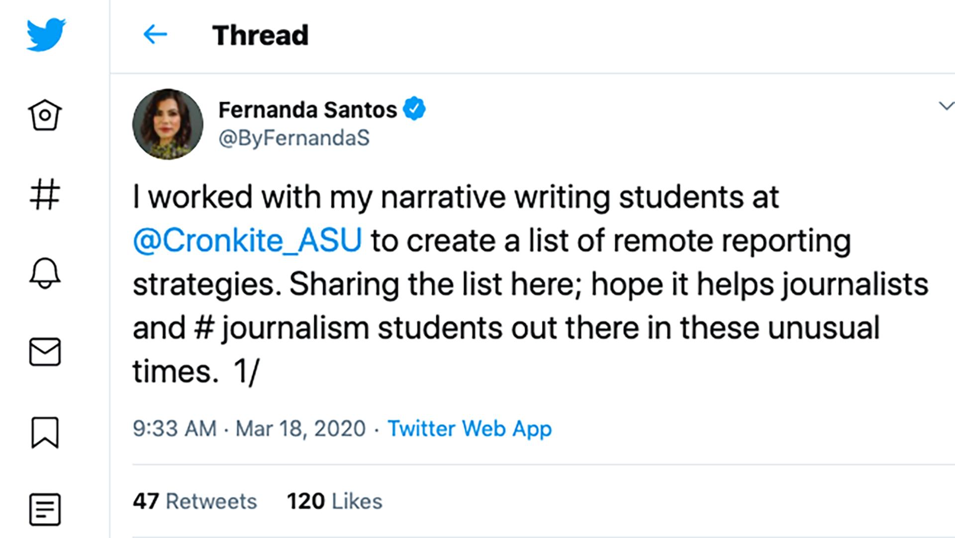 Fernanda's tweet