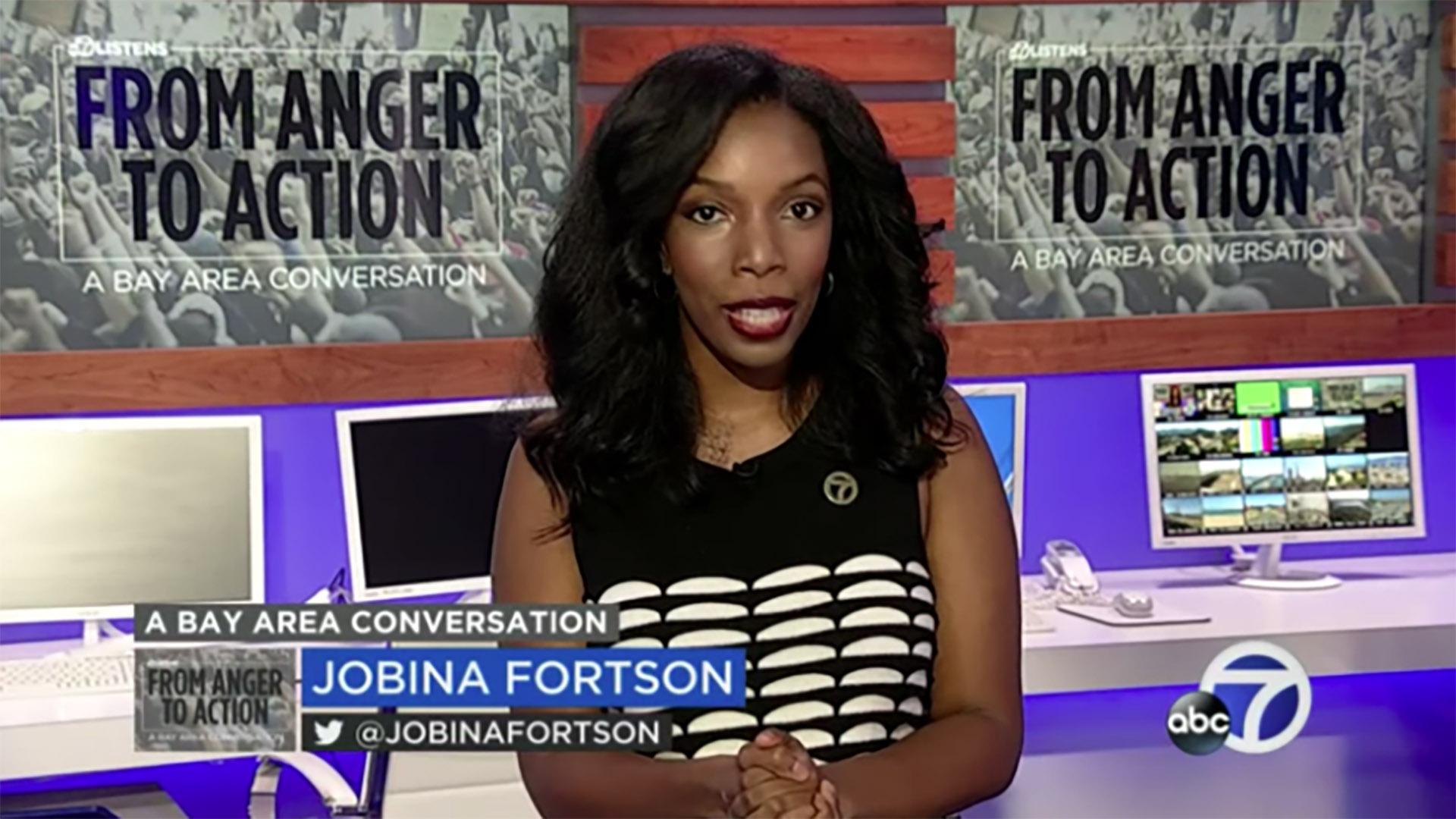 Anchor on the set of a newscast