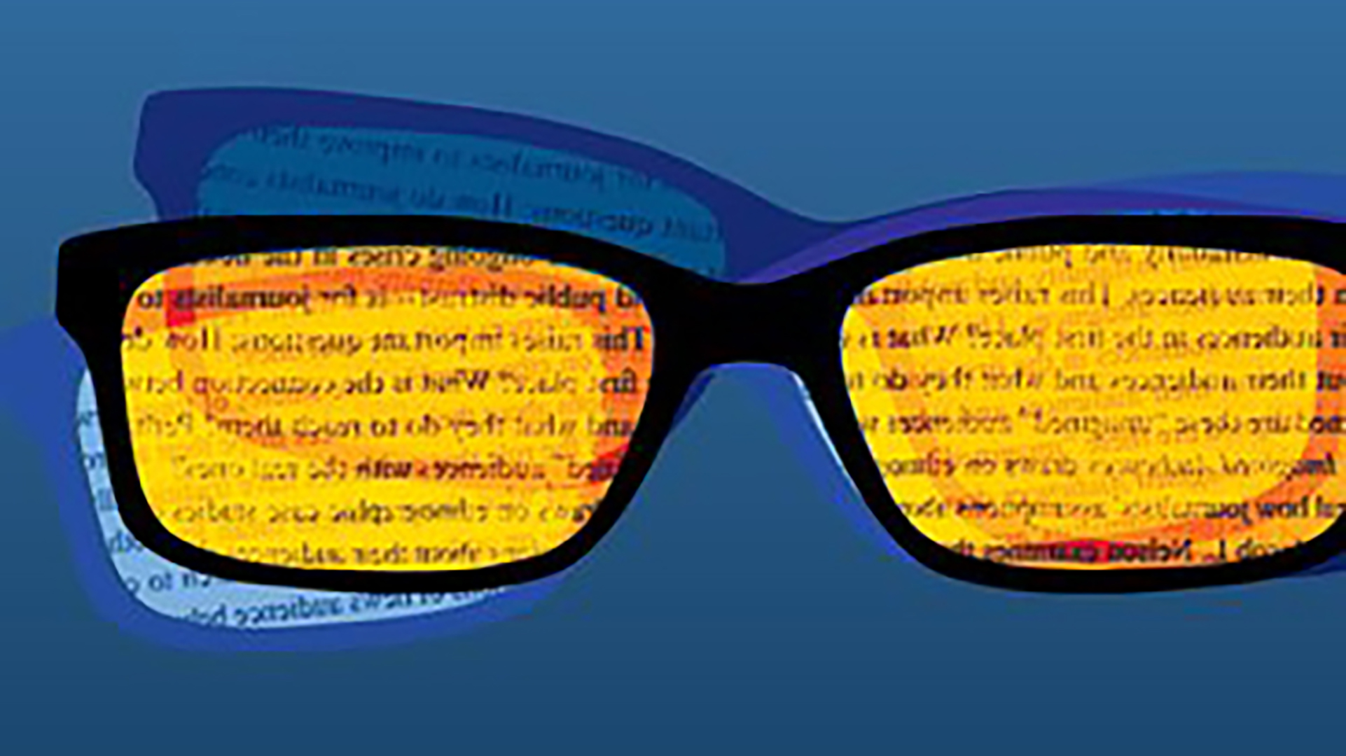 close-up of a blue and yellow sunglasses graphic