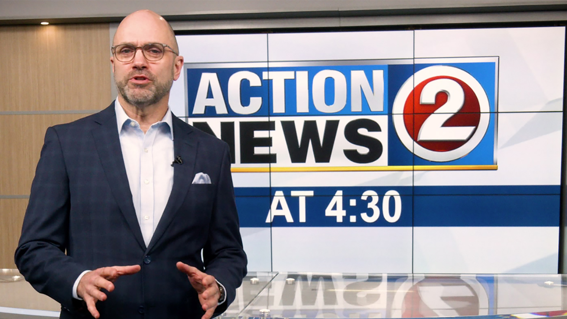 Chris Roth on the set of the WBAY 4:30 show
