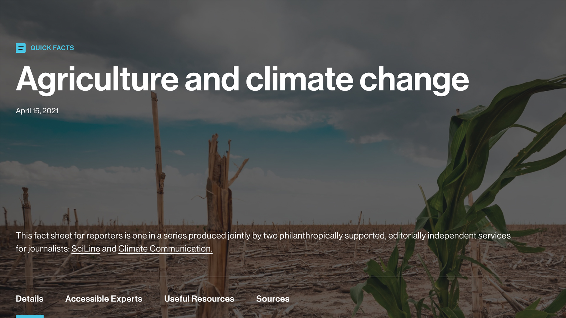 homepage featuring agriculture and climate change information