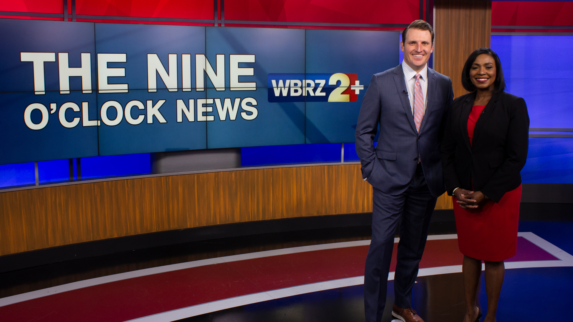 male and female anchor of WBRZ the Nine o'clock news